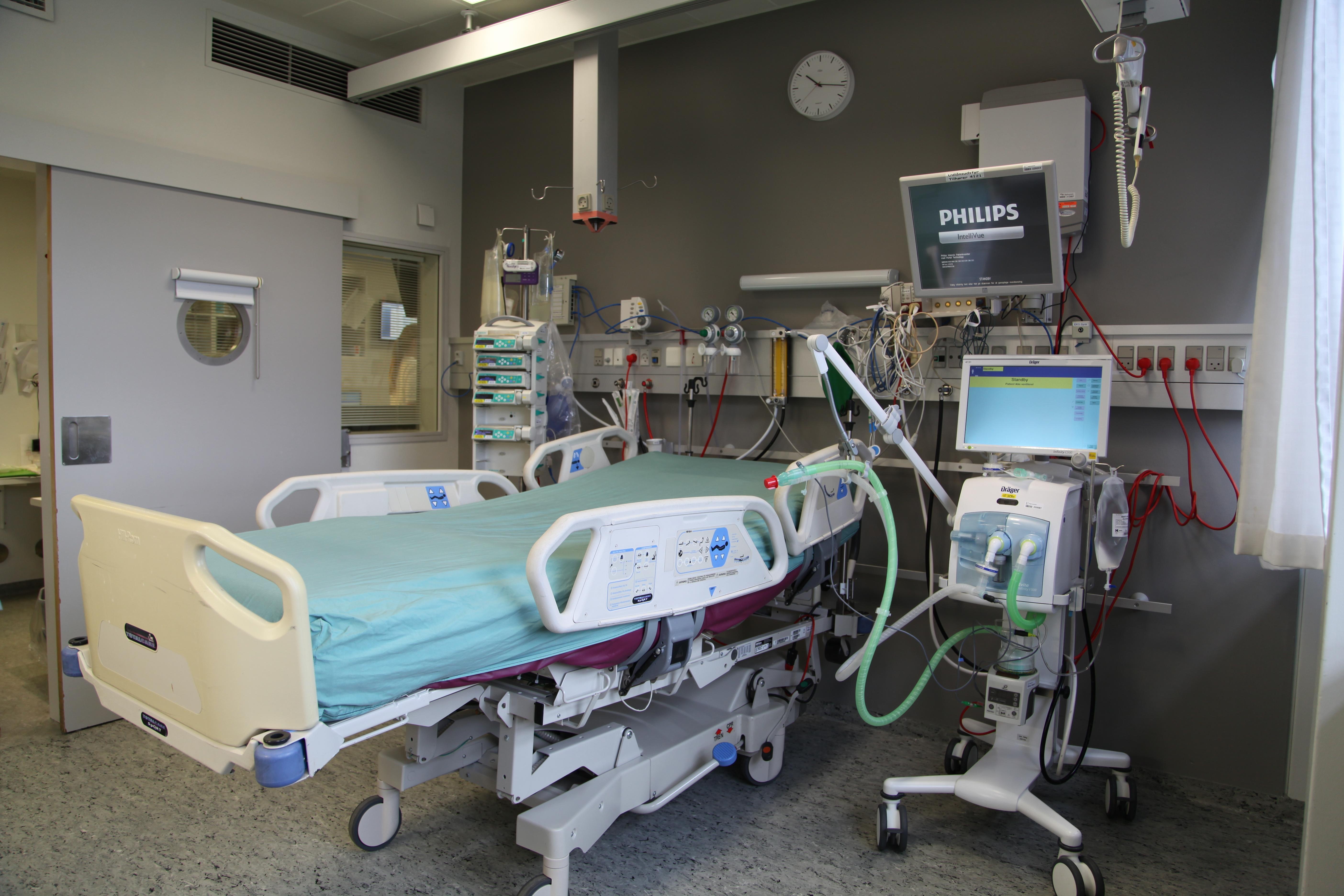 Stue på Intensivafdelingen på Rigshospitalet.